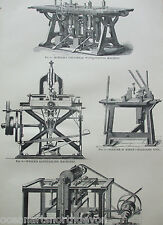 ANTIQUE PRINT C1880'S WOOD MACHINERY ENGRAVING KINDER'S SHAPING MACHINE ETCHING