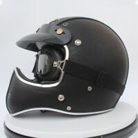 Full Face Motorcycle Helmet w/Goggles Deluxe Black Leather Street Bike Cruiser L