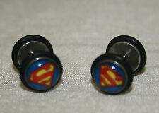 One Pair Superman Colourful Fake Plug Cheater Earring Mens Womens Ear Stud