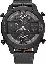 WEIDE WH6401 Dual Movement Quartz Men Watch 53mm Big Dial Week Timer Alarm W1G5