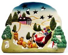 Tealight Votive Candle Holder Santa Claus Delivering Gifts Ceramic/Porcelain