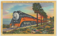 California Postcard Southern Pacific Daylight Coast Line Railroad Train CA Linen