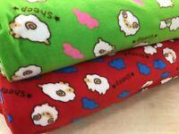 Printed antipill polar fleece fabric 150cm wide funky sheep pet beds 150cms wide