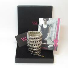 VSL Jewelry Tila Heavy Silver Plate Cuff Bracelet w/ Black Swarovski Crystals