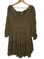 Free People Dress Green Olive Brown Cotton See Ya There Endless Summer M 10 12