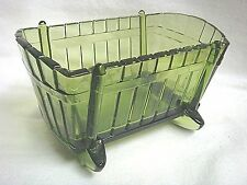 Vintage Green Glass Baby Cradle Candy Dish - Unique & Perfect