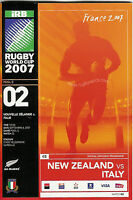 NEW ZEALAND v ITALY RUGBY WORLD CUP 2007 PROGRAMME