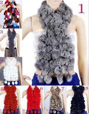 Women Real Rabbit Fur Scarf Shawl Cape Wrap Winter Scarves