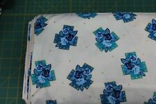 100 % Cotton fabric ~ Off white/blue & teal crosses with blue roses & gold ~ BTY