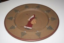 "Donna White Christmas Santa Primitive Handpainted Wood Composite 14.5"" Plate"
