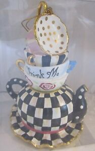 MACKENZIE-CHILDS STACKING TEACUPS ORNAMENT Alice in Wonderland Courtly Check