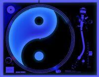 "Yin Yang - DJ Turntable Slipmat 12"" GLOWS under BLACKLIGHT LP Record Slip Mat"