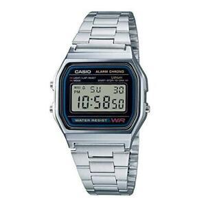 Casio A158W watch Vintage Retro Silver Stainless Steel Digital Unisex Watch