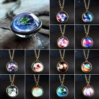 Nebula Galaxy Glass Pendant Necklace Luminous Universe Planet Chain Jewelry USA