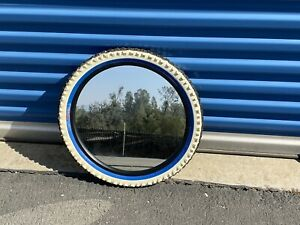 "Tire Mirror Blue/Wt Black 20"" Kids Mancave Garage Novelty Round Wall"