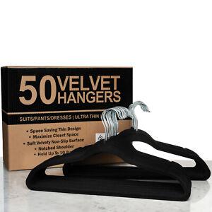 Premium Quality Velvet Hanger Set of 50 - Ultra -Thin No Slip Velvet Suit Hanger