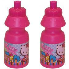 2x HELLO KITTY TRINKFLASCHE 350ml Sport Fahrrad Schule Kindergarten Flasche