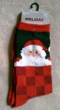 Black and Red Santa Claus Calf Length Socks Women's Shoe Size 4-10 NEW