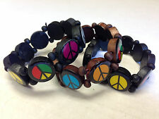 3 Pieces Round Wood Bead Peace Sign Bracelets Elastic Black & Brown