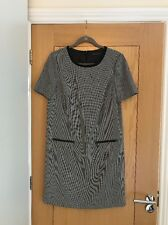 M&S COLLECTION Black & Beige Small Check Short Sleeve Shift Dress Size 10 - NEW