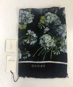 "NWT Gucci Navy Blue Blooms Floral 55.11"" x 55.11"" Modal/Silk Wrap Scarf $495.00"