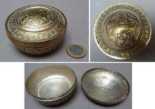 Boite en métal argenté Perse Empire Ottoman  décors avec animal