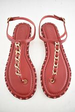 Chanel Red Braided Gold Logo Chain Thong Ankle Strap Slide Sandal Flat 36C / 36