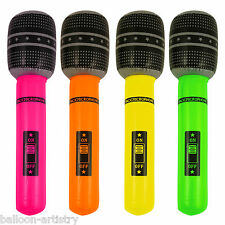Totally 1980's 80's Inflatable Music Neon Colours Microphone Prop Decoration