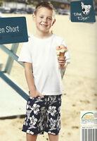 Jungen Short 100% Baumwolle Shorts blau /weiß Blumenmuster kurze Hose Bermuda