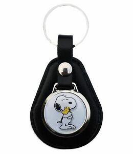 SNOOPY AND PEANUTS WOODSTOCK  LEATHER KEYRING