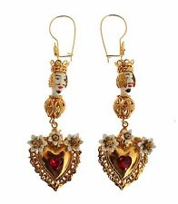 NEW $900 DOLCE & GABBANA Earring Gold Red Crystal Heart Pupi Doll Dangling Hook