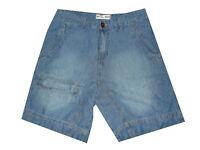 bermuda jeans uomo shorts denim corto largo chino tasca america blu M L XL XXL