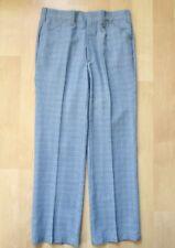 Vtg 70s Superfly Blue Gray Plaid Poly Dress Disco Pimp Pants Wide Legs 33W