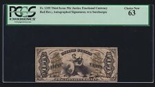 US 50c Justice Autographed Red Back Fractional Currency FR 1355 PMG 63 Ch CU