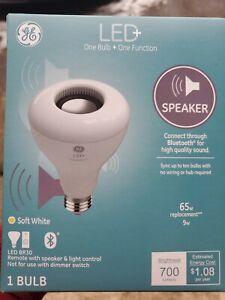 GE 93100354 LED+ Speaker Bulb BR30, 700 Lumens, 9-Watt W/ Remote Soft White