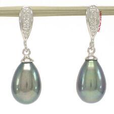 14k White Solid Gold & Diamonds; Black Cultured Pearl Dangle Stud Earrings TPJ