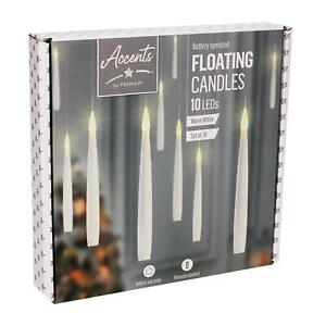 Set 10 Floating Candles Battery Operated Warm White Lights Christmas Decoration
