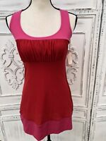 NWT SWEET PEA Stacy Frati Hot Pink Red Stretch Mesh Racer Back Tunic Tank Top