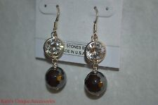 S.SO Genuine Stones Hematite Sterling Silver Drop Dangle Faceted Earrings NEW