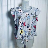 Monteau Crop Top Size L  V-Neck Short Sleeve Floral Tie Front Cute Boho Hispter