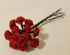 """Lot 144 pcs Red Satin Ribbon Roses Flowers 12mm 1/2"""" 1/2 Inch on Wire Stem"""