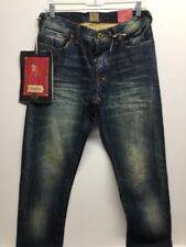 NWT PRPS Good & Co. Fury Medium Wash Distressed Button Fly W30 L34 Red Line