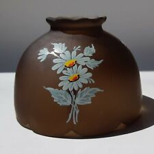 Westmoreland Fairy Lamp Shade Brown Frosted Glass With White Daisies Vintage