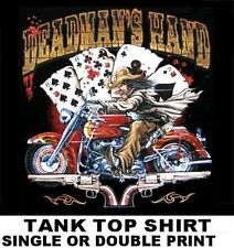 ACES & EIGHTS CARDS DEADMAN'S HAND BIKER COWBOY HAT RIDER GUN TANK TOP SHIRT 544