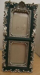 VICTORIAN ORNATE DOUBLE PHOTO FRAME/DECORATIVE/SILVER PICTURE FRAMES/COLLECTABLE