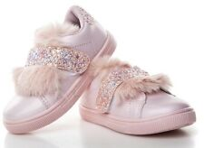 Size 9UK GIRLS Glitter Pom FUR Pumps CHILDRENS Plimsolls SNEAKERS TRAINERS SHOES