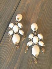 Oscar De La Renta  White Color  Flower Earrings signed