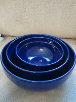 "Set of 3 mixing pottery bowls 2007 Boston Warehouse eggplant color 6.5-8.5-9.5"""