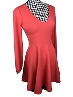NWT Abercrombie & Fitch Women's Size XS Coral Long Sleeve Fit and Flare Dress