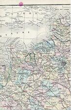 France Nord 1875 carte/lin (partie) orig. Havre Dieppe Manche Loire Calais Paris
